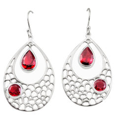 8.96cts natural red garnet 925 sterling silver dangle earrings jewelry p17717
