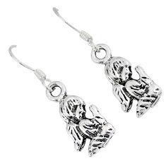 925 silver indonesian bali style solid dangle baby angel prayer earrings p1813