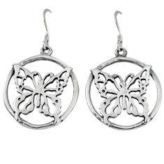 Indonesian bali style solid 925 sterling silver butterfly earrings jewelry p1817