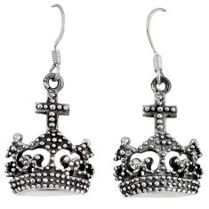 Indonesian bali style solid 925 sterling silver dangle crown earrings p1831