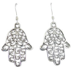 925 sterling silver indonesian bali style solid hand of god hamsa earrings p1839