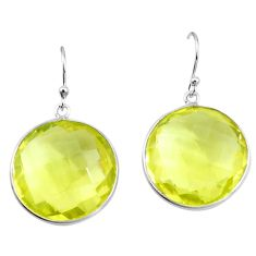 37.41cts natural lemon topaz 925 sterling silver dangle earrings jewelry p18716