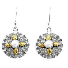 2.01cts natural white pearl 925 sterling silver two tone dangle earrings p20449