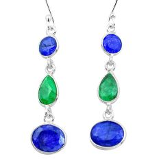11.26cts natural blue sapphire emerald 925 silver dangle earrings p20459