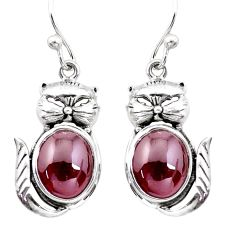 8.42cts natural red garnet 925 sterling silver cat earrings jewelry p20669