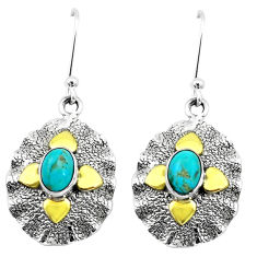 3.15cts green arizona mohave turquoise 925 silver two tone earrings p20802