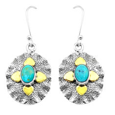 3.01cts green arizona mohave turquoise 925 silver two tone earrings p20803