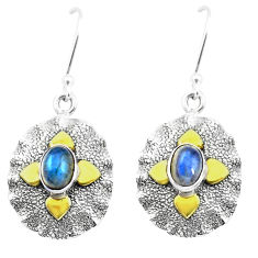 925 silver 3.29cts natural blue labradorite two tone dangle earrings p20812