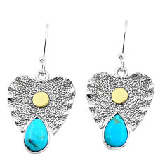 4.73cts blue arizona mohave turquoise 925 silver two tone dangle earrings p20823
