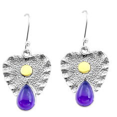 5.75cts natural purple amethyst 925 silver two tone dangle earrings p20828