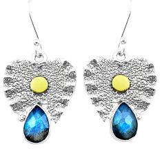 925 silver 4.94cts natural blue labradorite two tone dangle earrings p20831