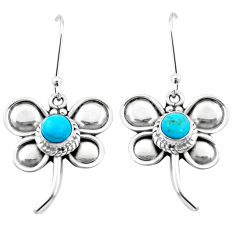 925 silver 6.26cts blue arizona mohave turquoise dragonfly earrings p21285