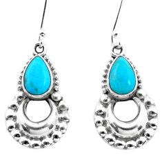 4.22cts blue arizona mohave turquoise 925 sterling silver dangle earrings p21288