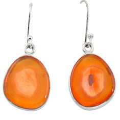 925 silver 15.55cts natural orange botswana druzy agate dangle earrings p21304