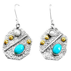 925 silver 5.81cts green arizona mohave turquoise two tone earrings p21665