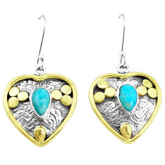 3.89cts blue arizona mohave turquoise 925 silver two tone heart earrings p21667