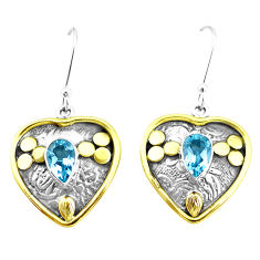 4.35cts natural blue topaz 925 sterling silver two tone heart earrings p21668