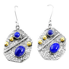 6.15cts natural blue lapis lazuli 925 silver two tone dangle earrings p21671