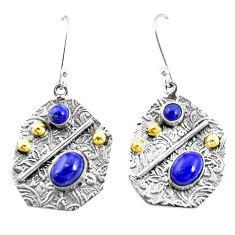 6.15cts natural blue lapis lazuli 925 silver two tone dangle earrings p21672