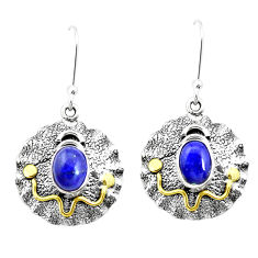 4.71cts natural blue lapis lazuli 925 silver two tone dangle earrings p21683