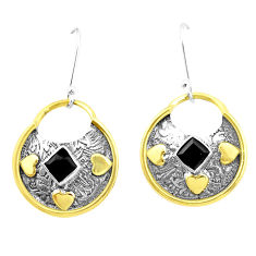 925 sterling silver 3.61cts natural black onyx two tone dangle earrings p21689