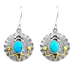 4.55cts blue arizona mohave turquoise 925 silver two tone dangle earrings p21690