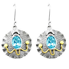 4.38cts natural blue topaz 925 sterling silver two tone dangle earrings p21694