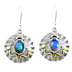 925 silver 4.82cts natural blue labradorite two tone dangle earrings p21697
