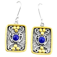 2.19cts natural blue lapis lazuli 925 silver two tone dangle earrings p21705