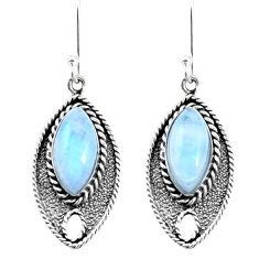 15.55cts natural rainbow moonstone 925 sterling silver dangle earrings p21717
