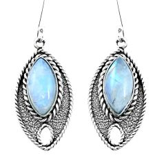 14.45cts natural rainbow moonstone 925 sterling silver dangle earrings p21718