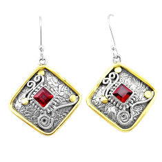 925 sterling silver 2.99cts natural red garnet two tone dangle earrings p21728