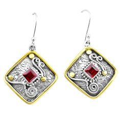 3.08cts natural red garnet 925 sterling silver two tone dangle earrings p21729