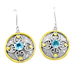 2.07cts natural blue topaz 925 sterling silver two tone dangle earrings p21745