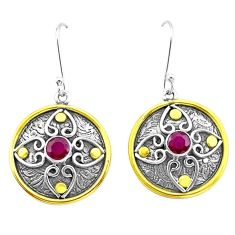 2.07cts natural red ruby 925 sterling silver two tone dangle earrings p21753