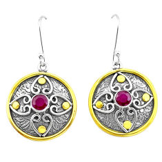 2.07cts natural red ruby 925 sterling silver two tone dangle earrings p21754