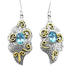 4.36cts natural blue topaz 925 sterling silver two tone dangle earrings p21767