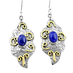 925 silver 4.36cts natural blue lapis lazuli two tone dangle earrings p21772
