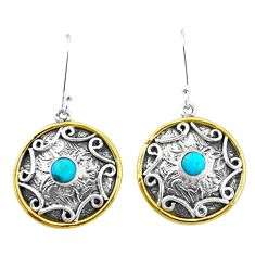 2.01cts blue arizona mohave turquoise 925 silver two tone dangle earrings p21783