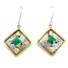 3.24cts natural green malachite 925 silver two tone dangle earrings p21785