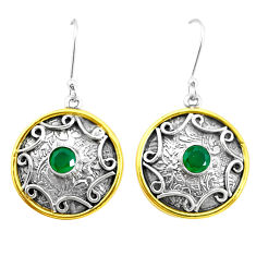 2.01cts natural green chalcedony 925 silver two tone dangle earrings p21787