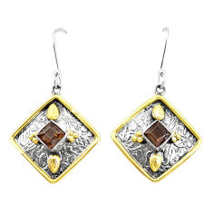 3.23cts brown smoky topaz 925 sterling silver two tone dangle earrings p21791