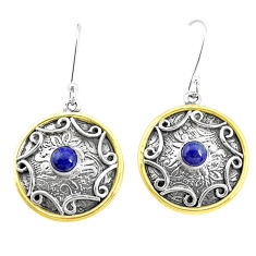2.00cts natural blue lapis lazuli 925 silver two tone dangle earrings p21793