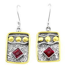 3.29cts natural red garnet 925 sterling silver two tone dangle earrings p21803
