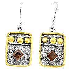 3.56cts brown smoky topaz 925 sterling silver two tone dangle earrings p21812