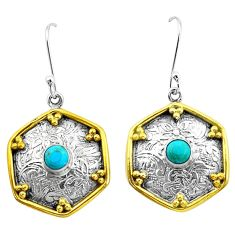 1.81cts blue arizona mohave turquoise 925 silver two tone dangle earrings p21823