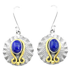 4.21cts natural blue lapis lazuli 925 silver two tone dangle earrings p21829