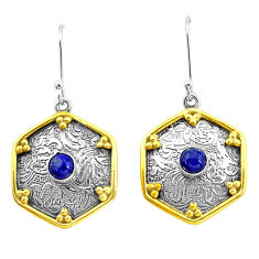 925 silver 1.81cts natural blue lapis lazuli two tone dangle earrings p21832
