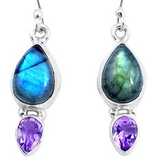 10.49cts natural blue labradorite amethyst 925 silver dangle earrings p21871