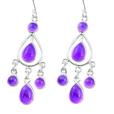 14.40cts natural purple amethyst 925 sterling silver chandelier earrings p21901